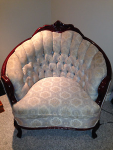 French Provincial Tub Occasional Accent Chair tufted