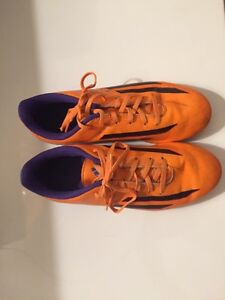 Purple Red and Orange Adidas soccer cleats