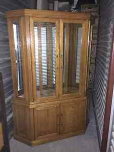China cabinet with matching server Solid Oak. NEW PRICE