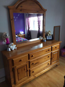 Pine Wood Dresser with mirror, night stand and matching bedframe