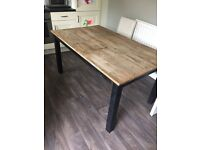 Extendable oak table 6/8/10 seater with 8 chairs