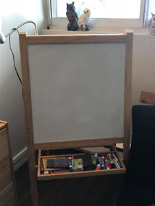 White board chalkboard with ton of markers, chalk