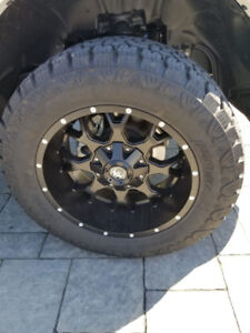 New 20 inch mayhem rims and new amp all terrain tires for sale