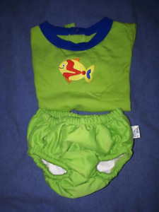 Cute Baby Boy 2pc Wee Wave Swim Diaper Set,Fits 15-30lbs