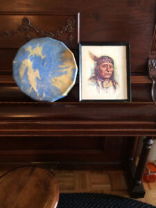 HOMEMADE NATIVE STYLE DRUM & H.T. ETWELL PRINT