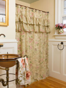 Brand New April Cornell Tea Rose Shower Curtains PRICE REDUCED!