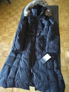 NEW Kensie Jacket Raccoon Faux Fur Hood Maxi Down Coat Blk szM