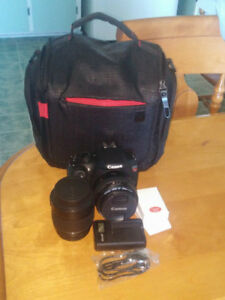 Cannon T5 DSLR With Two Lenses.