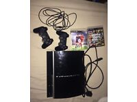 SONY PS3 console and 2 controllers