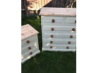 Up Cycled Solid Pine Chest of Drawers + One Bedside Table (Can Deliver)