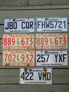 LOT of 7 Quebec Licence plates West Island Greater Montréal image 1