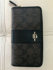 Brand New COACH monogrammed leather zip-around wallet with tags