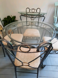 Glass dining table and four chairs. Side table and coffee table