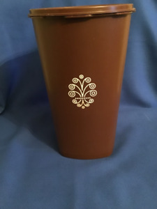 1970's Chocolate Brown Tupperware Large Canister