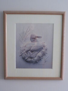 FRAMED LOON PAPER SCULPTURE PRINT BY CALVIN NICHOLLS