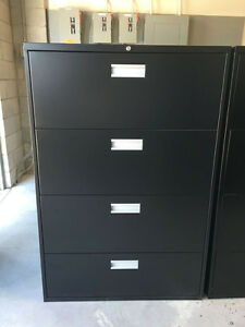 4 Drawer Black Lateral Filing Cabinet