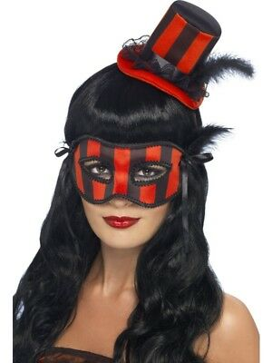 Halloween Set Augenmaske Hut Burlesque 2-teilig schwarz (Burlesque Augen Masken)