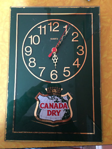 Vintage Canada Dry glass clock face - minimal paint loss