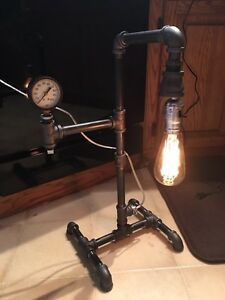 Industrial pipe desk lamp antique vintage gauge Edison bulb