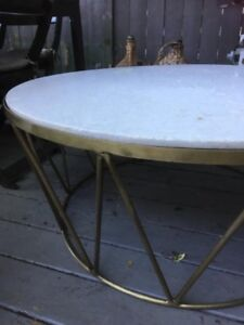 marble and brass round coffee table