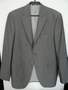 Men's Black Brown 1826 Grey Suit Jacket 100% Wool Size 40L