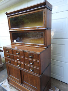 Unusual Antique early 1900's sectional bookcase/file cabinet)