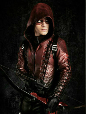 Men Arrow Arsenal Red Colton Haynes Hooded Halloween Special Faux Leather - Colton Haynes Halloween