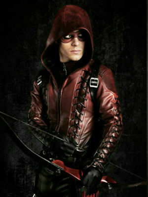 Colton Haynes Halloween (Men Arrow Arsenal Red Colton Haynes Hooded Halloween Special Faux Leather)