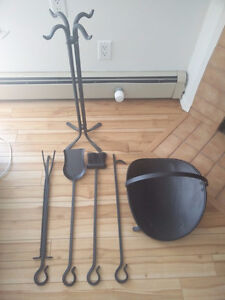 Moving sale: cast iron fire place tool set
