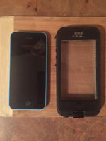 Blue Iphone 5c with Lifeproof case
