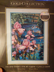 """Counted cross stitch """"Iris and Swan"""""""