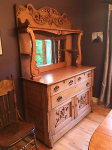 Antique Oak Dining Room Hutch