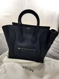 Celine Luggage Pebbled Calfskin in Black