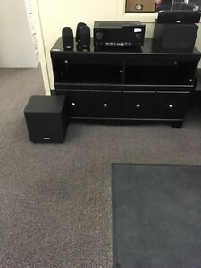 T.V stand and home theatre