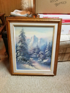 Beautiful winter forest painting