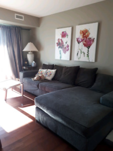 """9ft 8in in length and 5'6"""" wide sofa. Great condition"""