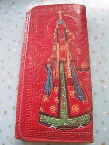 Vintage Asian Themed Embossed Red Leather Design Clutch Wallet