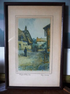 "Street Scene Lithograph by Rhys Jenkins ""Bunyans Cottage Elstow"" Stratford Kitchener Area image 1"