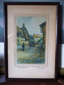 "Street Scene Lithograph by Rhys Jenkins ""Bunyans Cottage Elstow"""