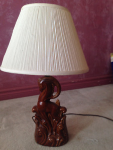 "Extremely interesting ""Proud Ram"" Lamp in  Hazel enamel glaze."