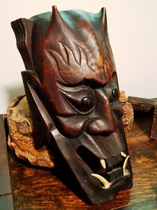 HORNED DEVIL MASK FANGED hand carved wood FABULOUS PIECE vintage Cambridge Kitchener Area image 2
