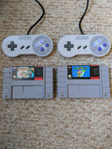 SNES games and controllers