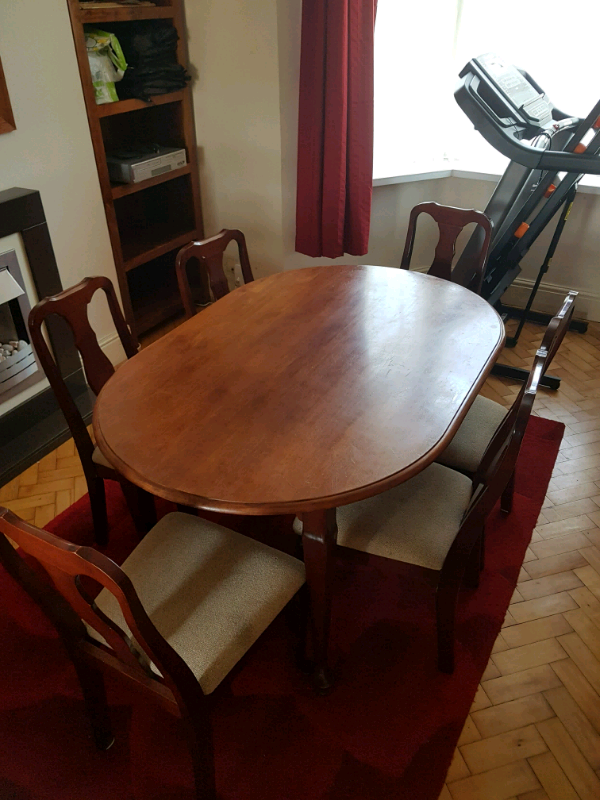 Super Wood Dining Table And Six Chairs In Swansea Gumtree Machost Co Dining Chair Design Ideas Machostcouk