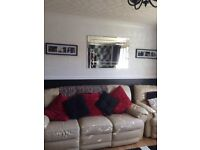 Cream Leather 3 Seater Recliner & Chair