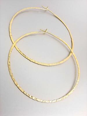 CHIC Lightweight Artisanal Mat Gold Plated Texture Round Flat Hoop Earrings Acrylic Gold Plated Earrings