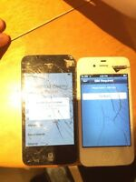 TWO CRAKED IPHONE 4 only 80$