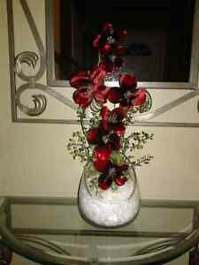 NEW RED ORCHID CHRISTMAS CENTERPIECE
