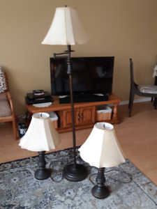 Standard lamp and two matching table lamps.