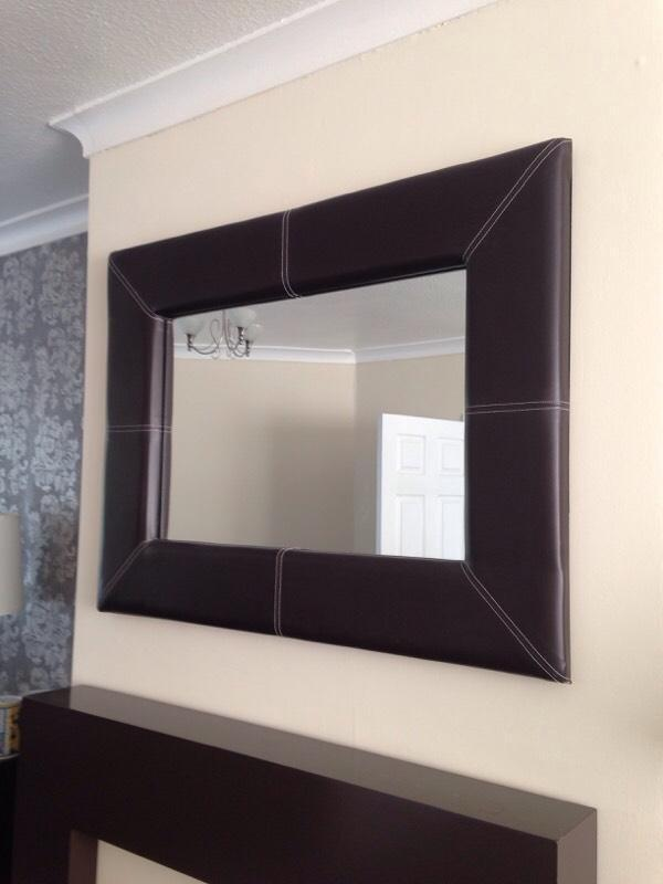 Brown Faux Leather Faux Leather Mirror Brown