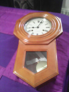 WOODEN WALL CLOCK WITH CHIME AND PENDULUM